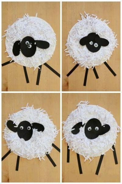 cardboard sheep template - arte per bambini animali in inglese